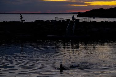 An evening swim at the rockpool, Kingscote.